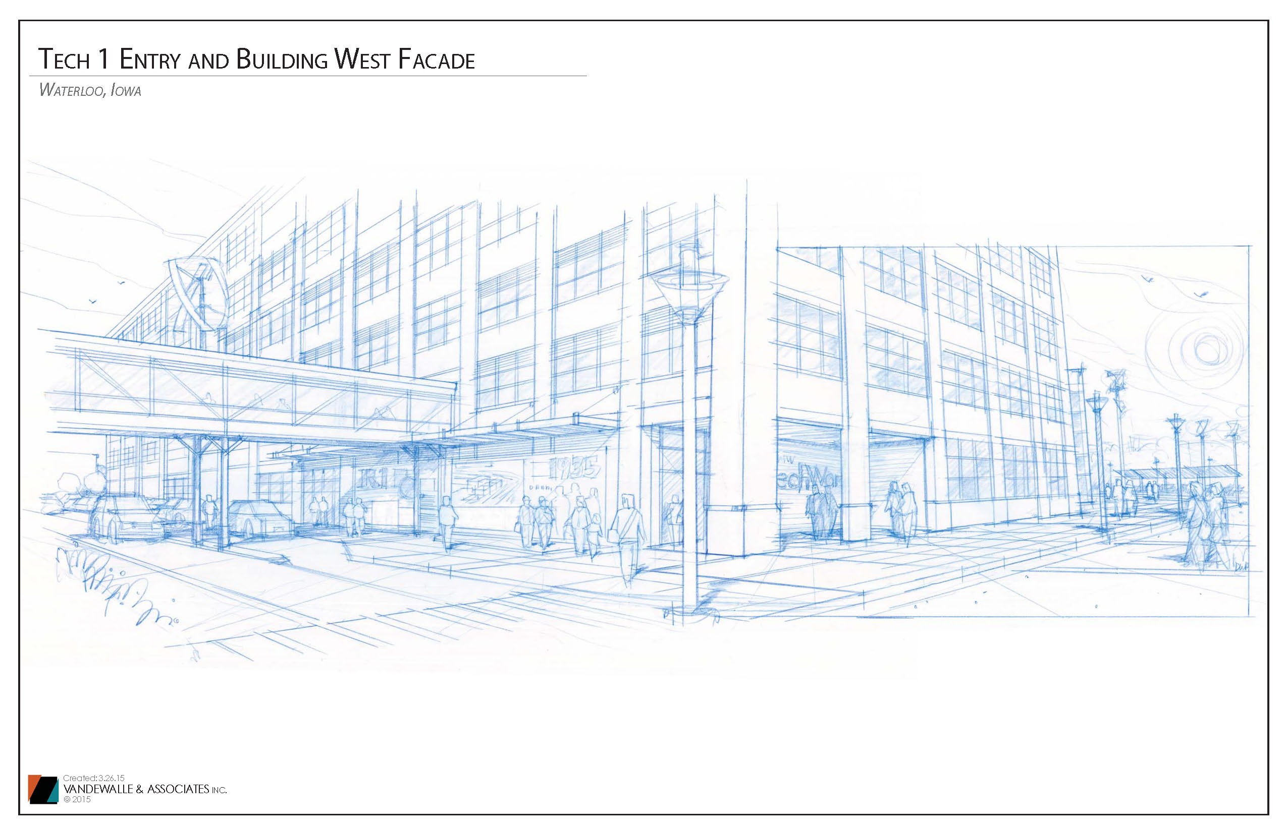 Tech 1 Entry and Building West Facade. 3.26.15 Perspective 1